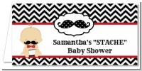 Little Man Mustache Black/Grey - Personalized Baby Shower Place Cards