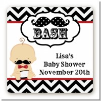 Little Man Mustache Black/Grey - Square Personalized Baby Shower Sticker Labels