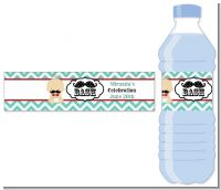 Little Man Mustache - Personalized Baby Shower Water Bottle Labels