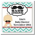 Little Man Mustache - Square Personalized Baby Shower Sticker Labels thumbnail