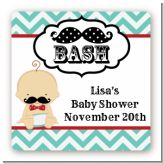 Little Man Mustache - Square Personalized Baby Shower Sticker Labels