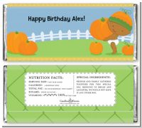 Little Pumpkin African American - Personalized Birthday Party Candy Bar Wrappers