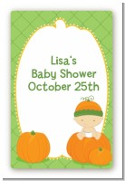 Pumpkin Baby Caucasian - Custom Large Rectangle Baby Shower Sticker/Labels