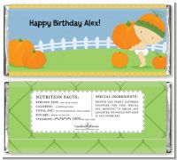 Little Pumpkin Caucasian - Personalized Birthday Party Candy Bar Wrappers