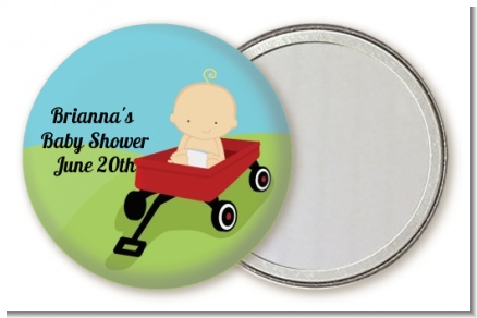 Little Red Wagon - Personalized Baby Shower Pocket Mirror Favors