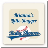 Little Slugger Baseball - Square Personalized Baby Shower Sticker Labels