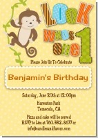 Look Who's Turning One Monkey - Birthday Party Invitations