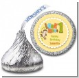 Look Who's Turning One Monkey - Hershey Kiss Birthday Party Sticker Labels thumbnail