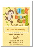 Look Who's Turning One Monkey - Birthday Party Petite Invitations