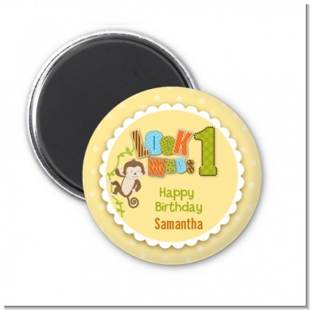 Look Who's Turning One Monkey - Personalized Birthday Party Magnet Favors