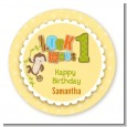 Look Who's Turning One Monkey - Round Personalized Birthday Party Sticker Labels thumbnail