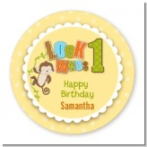 Look Who's Turning One Monkey - Round Personalized Birthday Party Sticker Labels