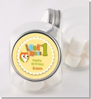 Look Who's Turning One Owl - Personalized Birthday Party Candy Jar