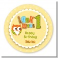 Look Who's Turning One Owl - Round Personalized Birthday Party Sticker Labels thumbnail