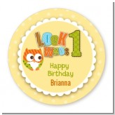 Look Who's Turning One Owl - Round Personalized Birthday Party Sticker Labels