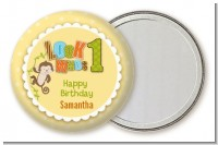 Look Who's Turning One Monkey - Personalized Birthday Party Pocket Mirror Favors