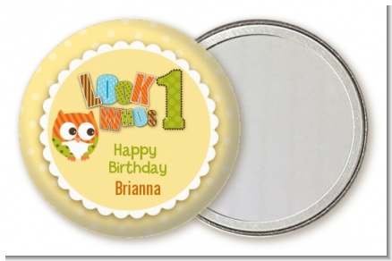 Look Who's Turning One Owl - Personalized Birthday Party Pocket Mirror Favors