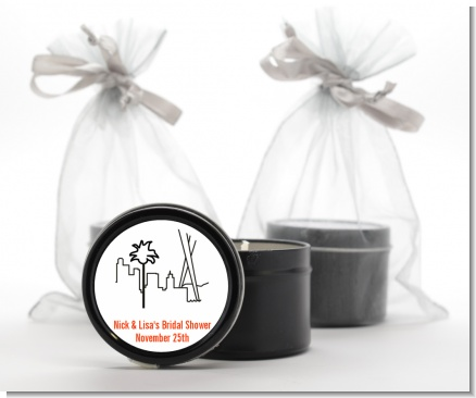 Los Angeles Skyline - Bridal Shower Black Candle Tin Favors