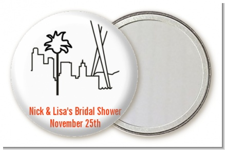 Los Angeles Skyline - Personalized Bridal Shower Pocket Mirror Favors