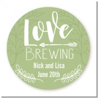Love Brewing - Round Personalized Bridal Shower Sticker Labels