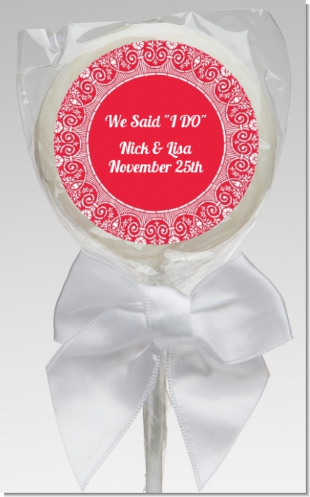 Love is Blooming Red - Personalized Bridal Shower Lollipop Favors