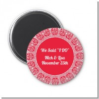 Love is Blooming Red - Personalized Bridal Shower Magnet Favors