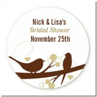 Loving Birds - Round Personalized Sticker Labels