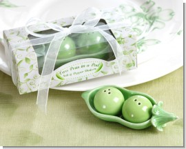 Two Peas in a Pod - Ceramic Salt & Pepper Shakers in Ivy Print Gift Box