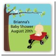 Little Red Wagon - Square Personalized Baby Shower Sticker Labels thumbnail