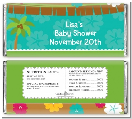 Luau - Personalized Baby Shower Candy Bar Wrappers