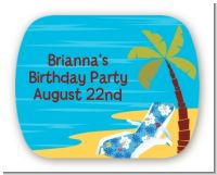 Luau - Personalized Birthday Party Rounded Corner Stickers