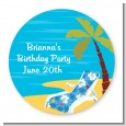 Luau - Round Personalized Birthday Party Sticker Labels thumbnail