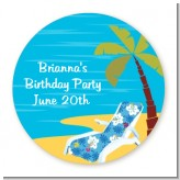 Luau - Round Personalized Birthday Party Sticker Labels