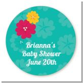 Luau - Round Personalized Baby Shower Sticker Labels