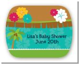Luau - Personalized Baby Shower Rounded Corner Stickers