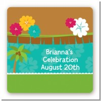 Luau - Square Personalized Baby Shower Sticker Labels