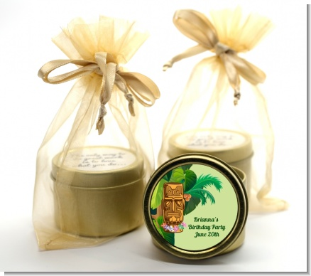 Luau Tiki - Birthday Party Gold Tin Candle Favors