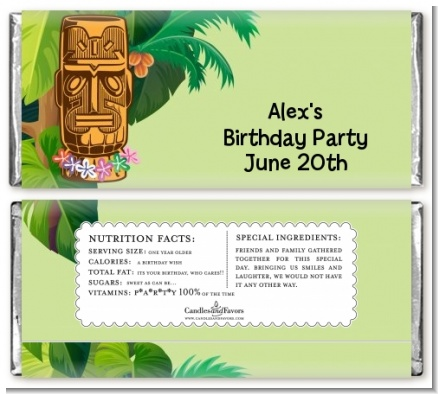 Luau Tiki - Personalized Birthday Party Candy Bar Wrappers