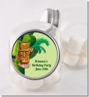 Luau Tiki - Personalized Birthday Party Candy Jar