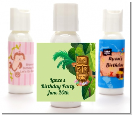 Luau Tiki - Personalized Birthday Party Lotion Favors