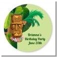 Luau Tiki - Round Personalized Birthday Party Sticker Labels thumbnail