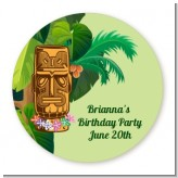 Luau Tiki - Round Personalized Birthday Party Sticker Labels