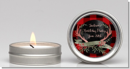 Lumberjack Buffalo Plaid - Birthday Party Candle Favors