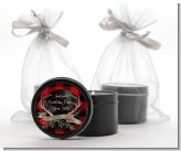 Lumberjack Buffalo Plaid - Birthday Party Black Candle Tin Favors