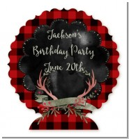 Lumberjack Buffalo Plaid - Personalized Birthday Party Centerpiece Stand