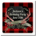 Lumberjack Buffalo Plaid - Square Personalized Birthday Party Sticker Labels thumbnail