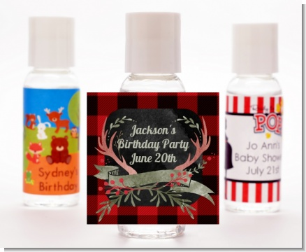 Lumberjack Buffalo Plaid - Personalized Birthday Party Hand Sanitizers Favors