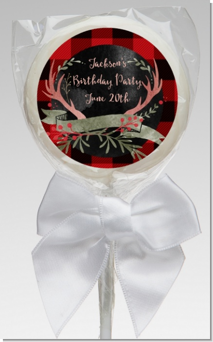 Lumberjack Buffalo Plaid - Personalized Birthday Party Lollipop Favors