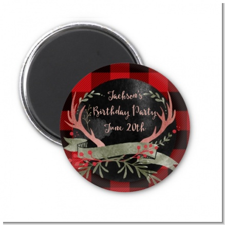 Lumberjack Buffalo Plaid - Personalized Birthday Party Magnet Favors