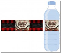 Lumberjack Buffalo Plaid - Personalized Birthday Party Water Bottle Labels